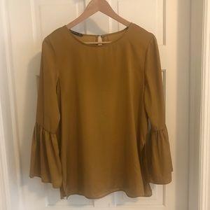 Zara ruffle bell sleeve top in gold